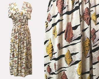 1940s Novelty Print Dali-esque Rayon Jersey Dress Shells