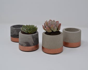 Copper Painted Concrete Plant Pots