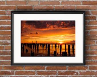 Sunset Cape Charles Virginia 8x10 16x20 Landscape Photography Fine Art Print Canvas Print Wall Art Photograph