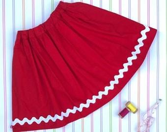 Red girls skirt, Christmas skirt, party skirt, girls everyday skirt, girls skirt, Christmas gift, gifts for girls, cotton skirt, ric rac