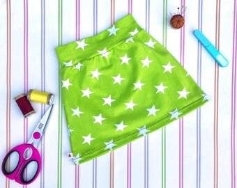 Girls jersey skirt, green skirt, stretch skirt, girls star skirt, girls mini skirt, organic skirt, girls skirt, jersey mini skirt