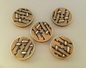 5 buttons 25 mm metal color bronze
