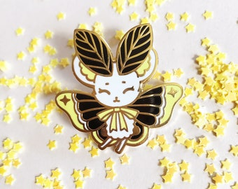 Yellow Spooky MouseMoth Gold Hard Enamel Pin