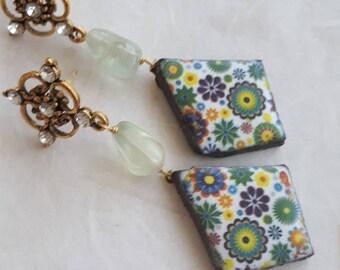 Ceramic earrings Caltagirone, semiprecious stones prehnite, Sicilian earrings