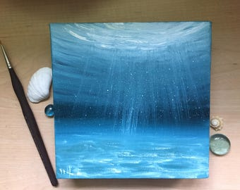 Turquoise Ocean Painting, Underwater Scene, Seascape, Ocean Art, Coastal Decor, Fine Art, Beach Wall Art, Original Oil Painting on Canvas