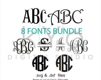 Cricut Font Bundle SVG cut files, Monogram letters svg, Monogram Font svg, Cricut fonts monogram svg, Silhouette monogram fonts, studio3