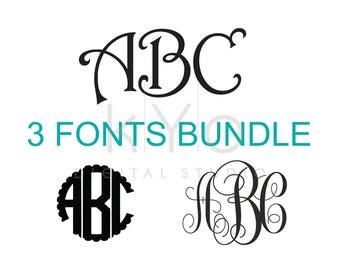 Cricut Monogram Font Bundle SVG cut files, Monogram letters svg, Monogram Font svg, Cricut fonts svg, Silhouette monogram fonts, studio3 svg