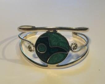 Vintage Mexican alpaca silver inlaid bangle