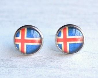 Iceland Flag Stud Earrings