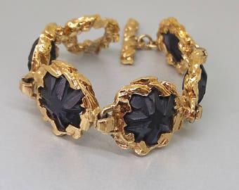 Guy Laroche Bracelet Black Gold 1980s Couture Paris France French Designer Jewelry UK