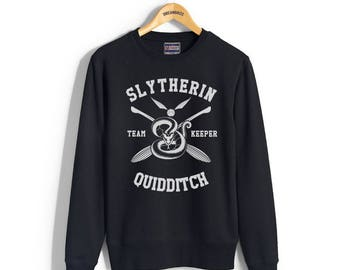 KEEPER - Slyth Quidditch team Keeper on Black Crew neck Sweatshirt