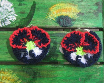 Pansies Earrings, Crochet Hoop Earrings Pansies, Crochet earrings Pansy, crochet earrings Pansies, Crochet earrings, Pansies earrings hoop