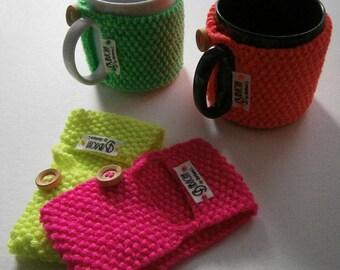 Neon mug warmer knitted by hand