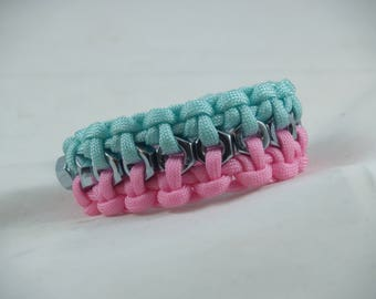 Turquoise and Pink 550 Survival Para-Cord Bracelet