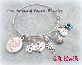 Granddaughter Girl Gift, Birthday Charm Bracelet for Granddaughter, Personalized Gift for Her, Grandmother Gift, 18th Birthday Gift Girl