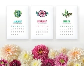 2018 Succulent Printable Monthly Calendar - Succulent Desk Calendar - Home Organizing Wall Calendar - 2018 Instant Download Calendar