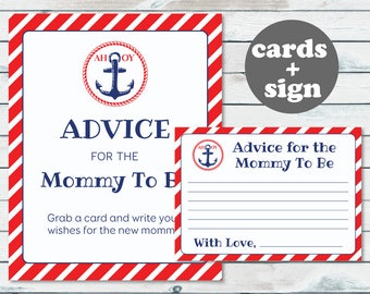 Nautical Baby Shower Advice For Mommy To Be Cards And Sign, Nautical Advice Card Printable, Advice For New Mom, Wishes For Mommy To Be