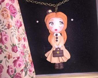 Anna fimo red haired cute necklace