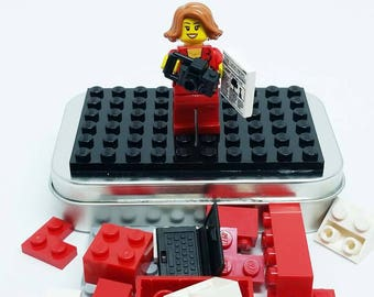 Brick Reporter On-the-Go Travel Play Set - Real LEGO Bricks - FREE SHIPPING! Kid travel, party favor, wedding kid table activity! Journalist