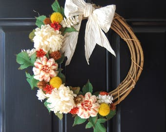 Multicolor Mums Grapevine Wreath with Paper Bow