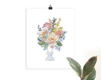 Festive Floral in Cobalt Illustrated Botanical Art Print