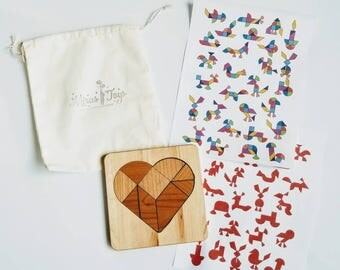Heart tangram - wooden tangram - stem toy - Montessori - Waldorf - gift for kids - Valentine's day gift - Easter gift - wooden puzzle