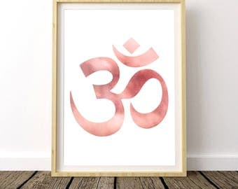 Yoga Print Art, Yoga Studio Decor, Decor Above Bed, Gypsy Decor, Yoga Print, Yoga Art, Om Symbol, Watercolor Printable, Yoga Poster, Pink