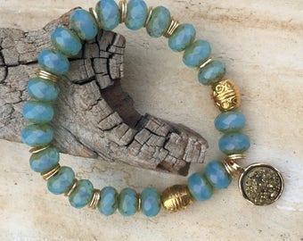 Czech Glass Beaded Bracelet   Druzy Charm Bracelet   Aqua Bracelet   Beaded Bracelet   Gold Bracelet   Stretch Bracelet   Layering Bracelet