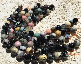 Pastel Shaded Black Fire Agate Beads