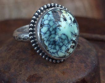 Turquoise Ring, Prince Variscite Ring, Sterling Silver Ring, Size 6.5 Ring