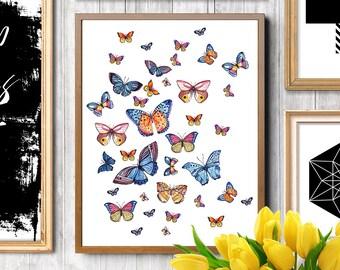 Butterfly art, Butterfly print, Butterflies print, Butterfly painting, Butterfly watercolor, Fashion illustration, Fashion art print