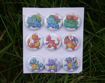"Pokemon Gen one Starters sprite collection - 9 button set - 1"" video game pixel art badges pins enamel pinbacks"