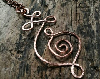 Medium hammered copper Unalome necklace ~  copper pendant ~ handmade Unalome ~ hippie // bohemian // sacred geometry // enlightenment //
