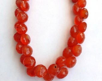 "1 Strand Natural Carnelian 8mm  Faceted onion  shape  Gemstone Beads 8"" long strand By SHAMSHAD GEMS"
