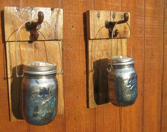 Mason Jar Sconce Set  Pint Size Looking glass and Blue Tinted Glass  LED Light