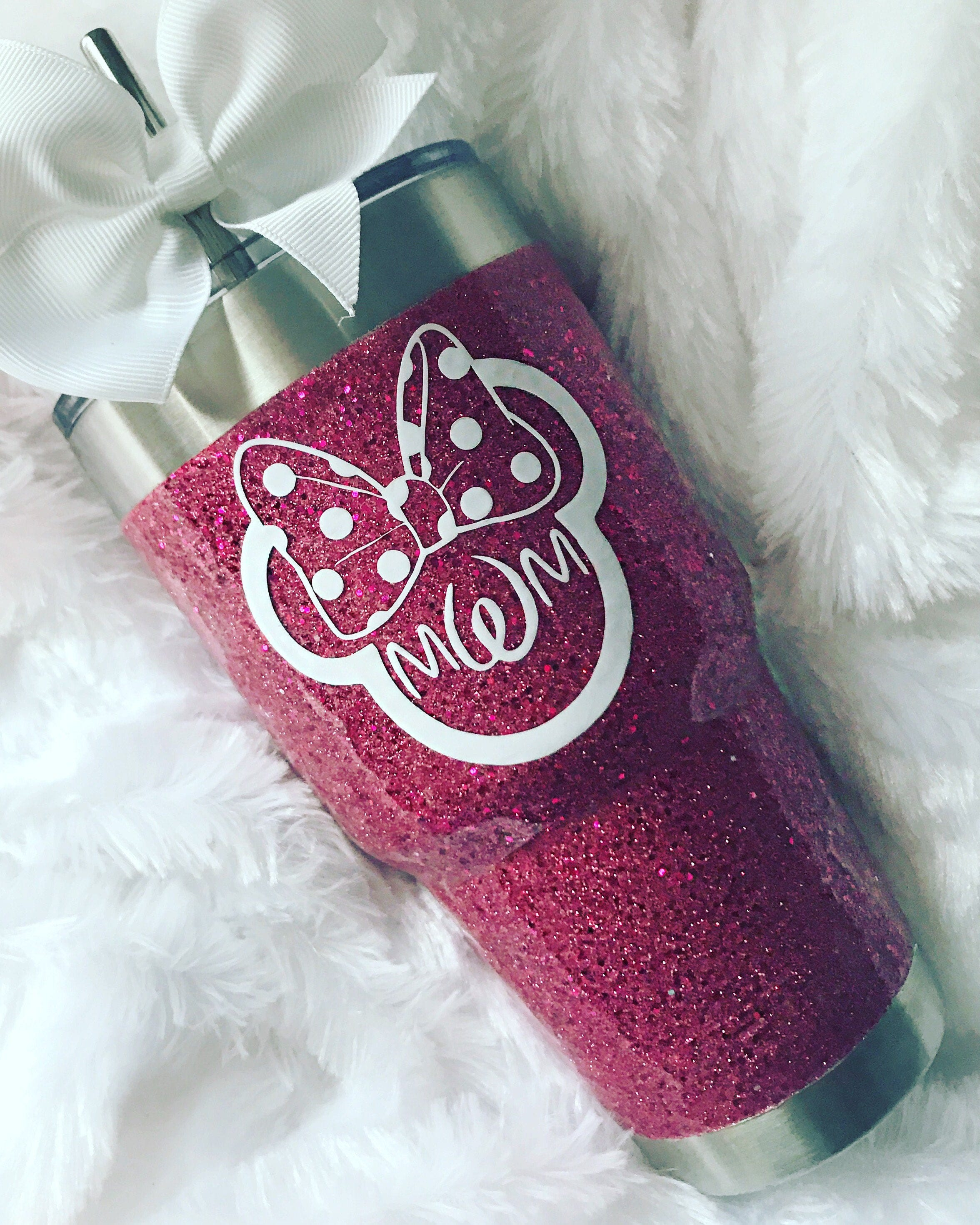 glitter yeti rambler in hot pink with lid amp bow
