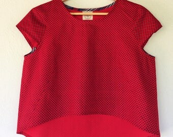 RESERVED! Cherry Red Cotton Top - Summer Wear - Organic Cotton Top - Eco-Friendly Cotton Top - Casual Blouse - Loose Top