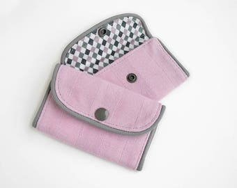 Small Pastel Coin Wallet – Pink Travel Wallet – Business Card Wallet – Pink Credit Card Case – Mauve Credit Card Wallet – Birthday Gifts