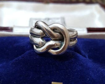 Vintage 925 sterling silver ring, sailors knot, size l, solid silver