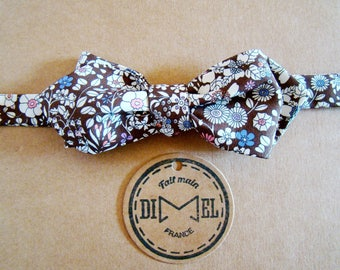 Bow tie adjustable Brown liberty to order