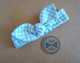 Headband tie headband blue gingham baby girl woman to order