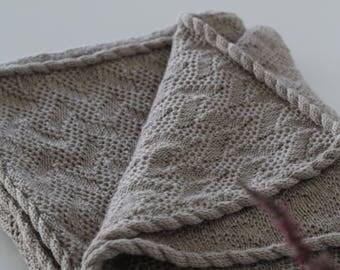 Knit baby blanket, unisex baby blanket, merino wool blanket, gray baby throw blanket, Knit baby wrap, Unisex baby blanket Christmas gift