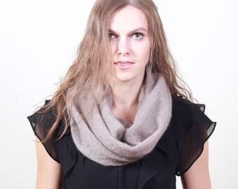 Brown mohair snood, infinity scarf, Knit Mohair Snood, Knit kid silk shawl, Knit kid Silk Scarf, Knit Tube, Mohair Neckwarmer, Mohair Wrap