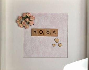 New Baby Personalised Scrabble Art Frame