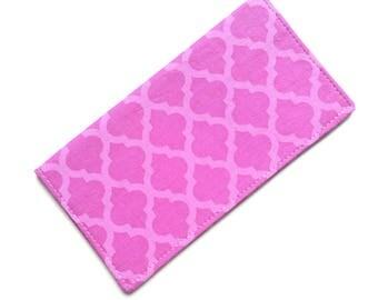 Checkbook cover, checkbook holder, wallet, receipt holder, pink quatrefoil pattern