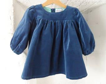 Blue iris velvet dress