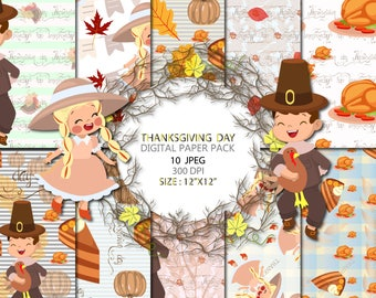 Autumn Paper Pack Fall Background Pumpkin Scrapbook Thanksgiving digital paper Pumpkin Papers Planner Stickers Instant Download 10 JPEG