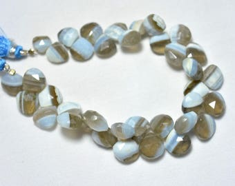 Bi-Color Opal Beads, Faceted Blue Opal Beads, Natural Blue Opal Cut Heart Beads, 11mm - 12mm, Gemstone For Jewelry 8 Inches Strand
