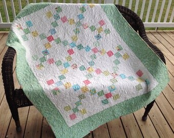 "Green nine patch baby/toddler quilt, 44""x55"""
