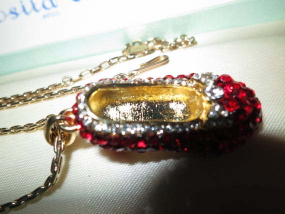 Gorgeous Vintage sparkly goldtone red rhinestone Wizard of Oz Dorothy shoes large pendant